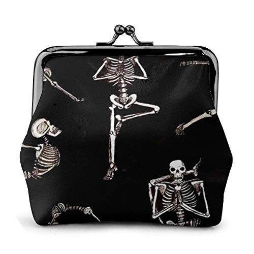 Esqueletos Yoga PU Cuero Exquisito Hebilla monederos Vintage Bolsa clásica Kiss-Lock Cambio Monedero Carteras Regalo