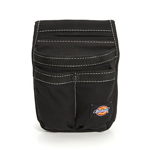 Dickies Storage Pouch for Tool and Work Belts, 4 Pockets, Cushioned Slip Pocket, Durable Canvas, Snap-Back Compatible with 3-inch Belts, Black