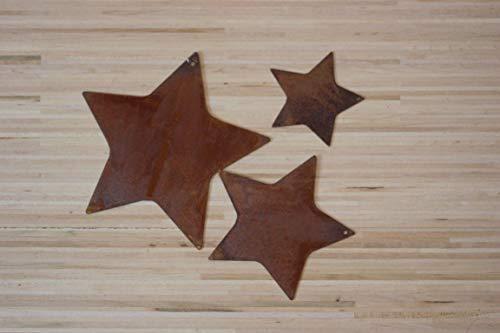 BADEKO 3 Sterne aus Metall z. Hängen (Edelrost) 8, 6 und 4 cm Durchmesser, Sternen-Set