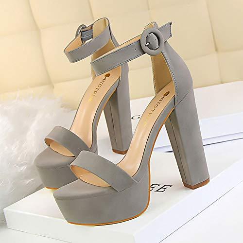 Dicker Absatz Plateau Sandalen, Frauen High Heels Sandalen Frauen Schuhe 2019 Sexy Sandalen Extreme High Heels,Gray,38