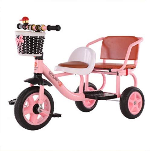 FMOGE Triciclo Bicicleta De 3 Ruedas para Niños Bicicleta Tándem Bicicleta para Niños Bicicleta para Bebés De 1 A 5 Años con Asiento Trasero Altura Recomendada: 85-120 Cm Peso del Triciclo 50 Kg