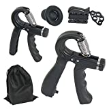 Amarine Made Hand Grip Strengthener Forearm Trainer Workout Kit, 11-132Lbs Adjustable Resistance Grip Strength Trainer, Finger Exerciser, Finger Stretcher, Grip Ring, Stress Relief Grip Ball-6 Packs