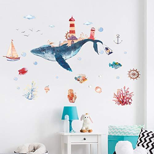 TYGHBN Underwater World Whale City Acquerello Adesivi murali bambino Adesivi murali bagno Wndow in vetro per camerette Decorazioni per la casa Murale