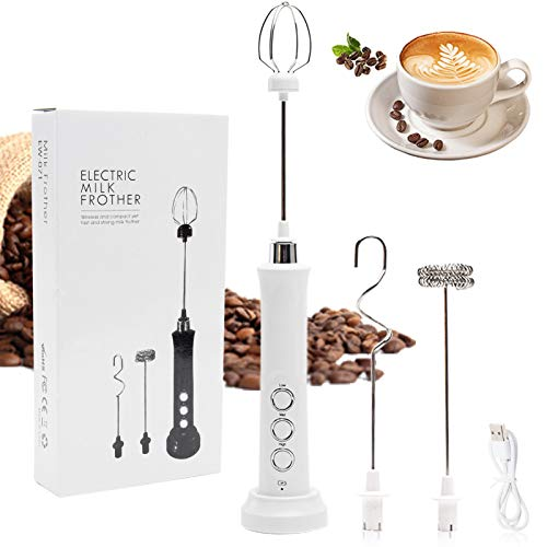 CANCYCC Espumador de leche eléctrico con batidor doble, 3 en 1, funciona con pilas, para café, leche, capuchino, batidos de huevos, batidor de batidos eléctrico por USB