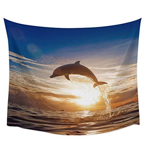 Bdhbeq Tapiz de Pared de Animales con Salto de mar al Atardecer con Delfines, Toalla de Playa, Alfombrilla de Yoga para Picnic, decoración del hogar, 130x150 cm
