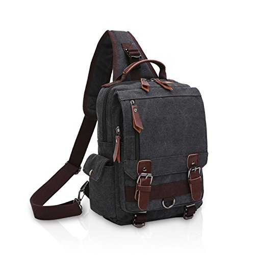 FANDARE New Hombres Sling Bag Business Commuter Estudiante Gym Outdoor Viaje Bolso de Hombro Transpirable Lienzo Negro A