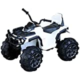 Aosom Kids Ride-on Four Wheeler ATV Car with Real Working Headlights, Music/Radio Player, & Smooth Suspension, White