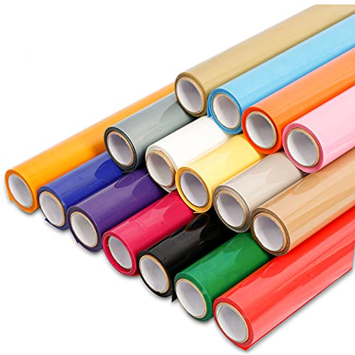 Heat Transfer Vinyl Bundle,HTV Roll 16X Iron on Vinyl Rolls 12'x 5ft for Clothes Shirts All Cutter Machine- Easy to Cut & Transfer