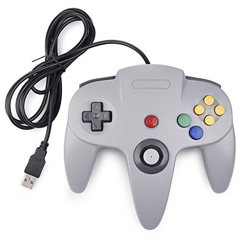 miadore N64 Controller grau,Classic N64 USB Game Gamepad N 64 PC-Controller Joystick Für Windows Mac PC Raspberry Pi