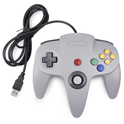 miadore N64 Controller grau,Classic N64 USB Game Gamepad N 64 PC-Controller Joystick Für Windows Mac PC Raspberry Pi
