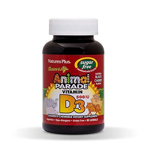 Nature's Plus, Source of Life, Vitamin D3, Animal Parade, 500 IU, Natural Black Cherry Flavour, 90 Animals