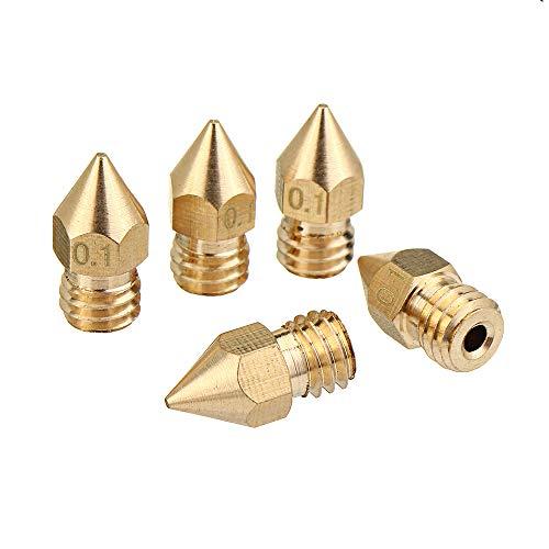 ExcLent 5Pcs 1.75Mm/0.1Mm Copper Mk8 Thread Extruder Nozzle for 3D Printer