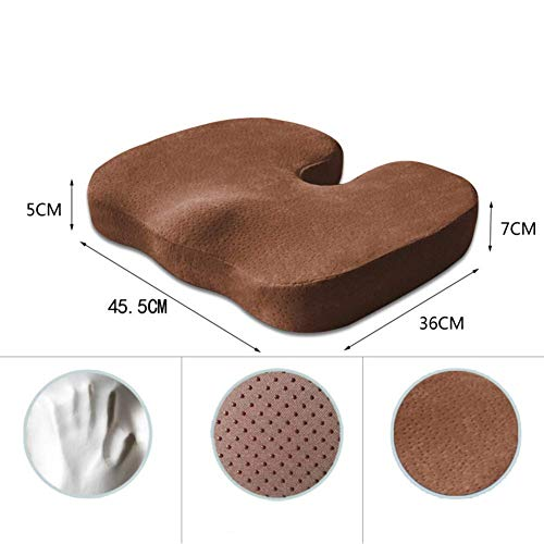 BD.Y Comfortably Office Memory Foam Seat Cushion, Anti Slip Velour Cover Orthopedic Pain Relief Sciatica Chair Cushions For Student Car Seat Wheelchair-coffee Slow Rebound
