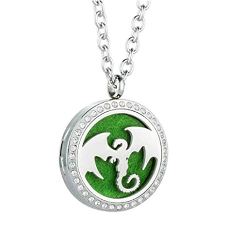 Aromatherapy Essential Oil Diffuser Necklace Pendant Locket Jewelry 24'' Adjustable Chain Stainless Steel Perfume Necklace (Dragon)