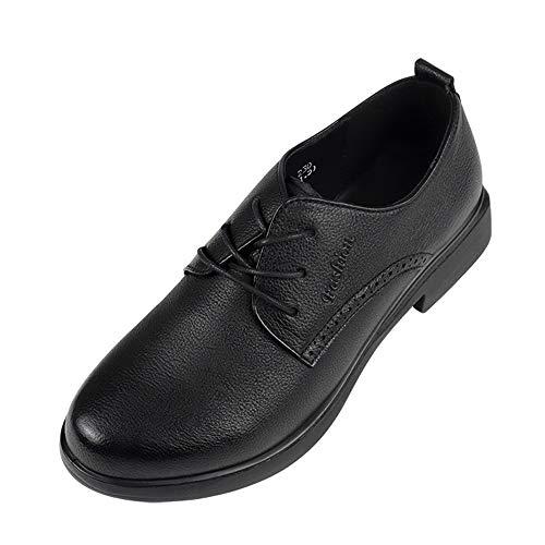 JXILY Zapatillas, Zapatillas de Trekking Zapatos Casuales de Piel de Vacuno de Capa Superior Zapatos Tipo Ballet para Mujer,Negro,40