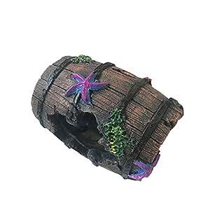 NA Colorful Artificial Resin Cave Decor Wine Bucket Broken Barrel Shape for Aquarium Ornament Fish Tank Decoration
