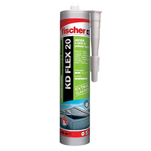 Fischer KD FLEX 20 Bianco, Sigillante adesivo per sigillatura e incollaggio di giunzioni soggette a dilatazioni, 290 ml, 541567