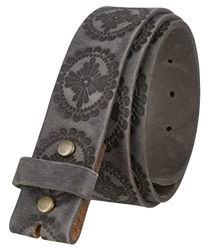 """BS70 Genuine Full Grain Embossed Replacement Belt Strap with Snaps 1 1/2"""" wide (Gray, 36)"""