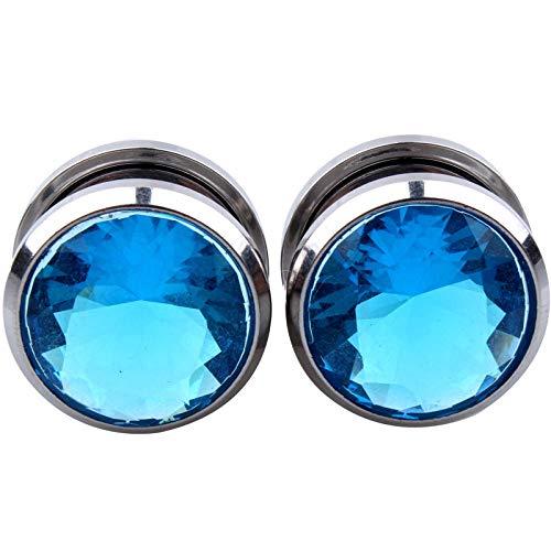 Crystal Zircon Flesh Tunnel Twn Tornillo Fit Ear Piercing Gauge Estiramiento Expansor Joyería Zirconia Arete-Azul_4mm