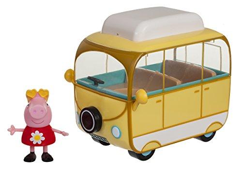 Peppa Pig Jazwares 95707 – Coche, vehículo de campista, Aprox. 15 cm y Figura de Juguete Original para niños a Partir de 2 años