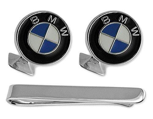 Sterling Silber Emaille BMW Manschettenknöpfe Tie Clip Box Set