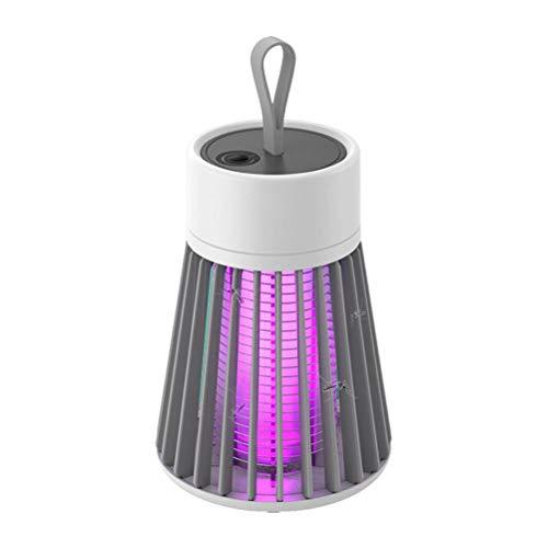Outdoors Lámpara portátil para asesino de mosquitos, zapatilla de insectos electrónicos, lámpara de trampa de insectos UV, recargable por USB, para interior con batería incorporada