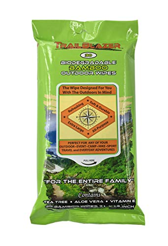 Trailblazer Biodegradable No Rinse Bamboo XL Wipes Survive Outdoors Anytime and Anywhere 30 Count...