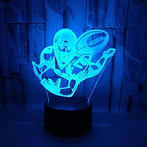 TYWFIOAV Colorful baseball 3D acrylic lamp 3D psychedelic touch creative remote control night vision desk lamp Moderne desktop
