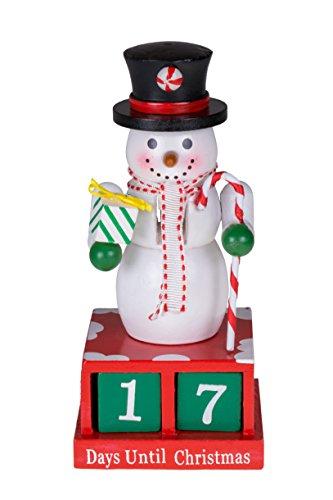 Calendario dell'Avvento a forma di pupazzo di neve/schiaccianoci - con cappello, sciarpa, regalo e scettro in caramella - 100% legno - decoro natalizio ideale per tavolo/mensola - 33 cm