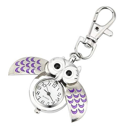Spaufu - Llavero forma búho colgante reloj bolsillo