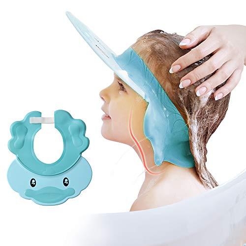 Gorro de ducha para niños, champú para lavado de cabello, protector para ojos, visera ajustable para baño de bebé, gorro de silicona protector de agua para niños pequeños, niños, bonito azul
