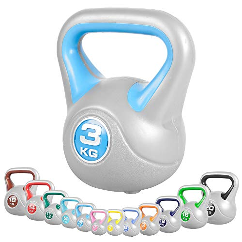 GORILLA SPORTS® Kettlebell Stylish 2-20 kg Kunststoff – Fitness-Kugelhantel 3 kg