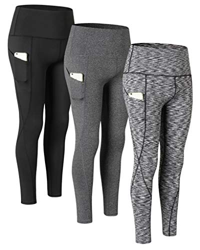 VERTAST Pack of 3 Pairs Leggings for women, 5.5 Inch High-Waisted Non see Through Sports Running Pants Yoga Tummy Control Workout Tights with Pocket, 1 black + 2 greys, XXL