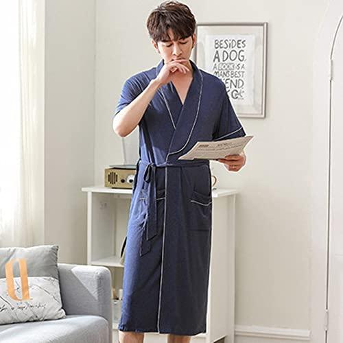 DEWUFAFA Vestido Nocturno, Albornoz para el hogar Todo en uno, Verano de Verano Nuevo Kimono Fino Modal de Manga Corta. (Color : Blue, Size : XXX-Large)