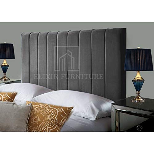 Portland Handmade Headboard Divan Bed Bedroom Decor Hotel Furniture Plush Velvet (Grey, King-size...