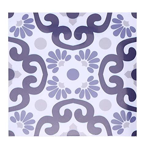 Adhesivos para azulejos, 10 piezas 7,9 x 7,9 pulgadas Adhesivo de pared antideslizante hermético Calcomanías extraíbles Patrón púrpura para sala de estar Baño Balcón