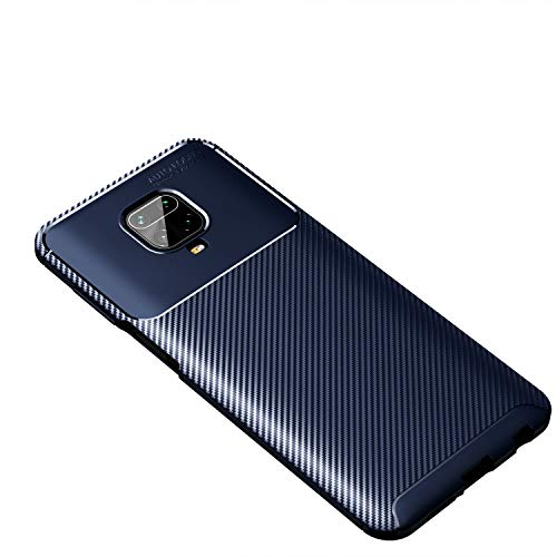 Preisvergleich Produktbild Beovtk Schutzhülle für Xiaomi Redmi Note 9 Pro / Redmi Note 9S / Redmi Note 9 Pro Max,  Silikonleder,  dünn,  flexibel,  TPU,  stoßdämpfend,  Kohlefaser,  navy