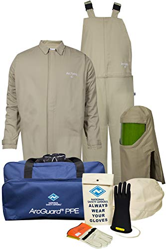National Safety Apparel KIT4SC40ECXL10 ArcGuard Contractor CAT 4 Arc Flash Kit with FR Short Coat and Bib Overall, 40 Calorie, X-Large/Glove Size 10, Khaki, Tan