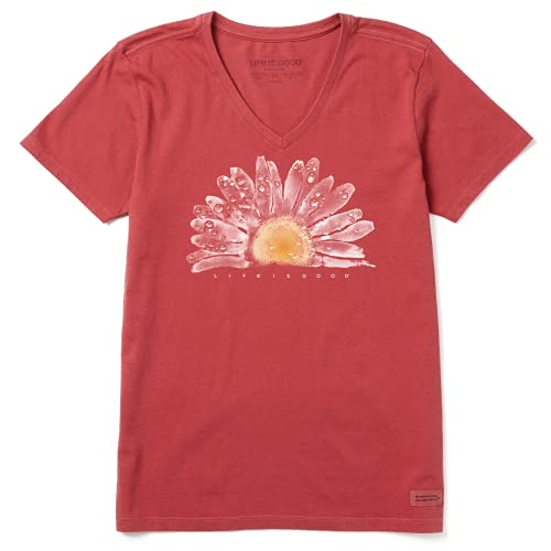 Life is Good Women's Standard Crusher Graphic V-Neck T-Shirt Watercolor Daisy, Faded Red, Large
