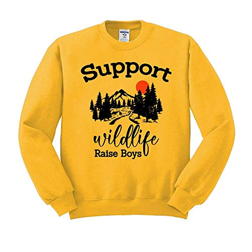 Support Wildlife Raise Boys Funny Mom Mother's Day Sweatshirt Unisex 2X-Large Gold