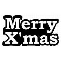 メリークリスマス シルエット ステッカー (黒:ブラック, 中:縦横 4.5cm×8cm = 2枚セット)