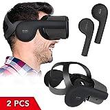 KIWI DESIGN Oculus Quest VRヘッドセット シリコンイヤーマフ、Oculus Quest用の強化サウンドソリューション(ブラック、1ペア)