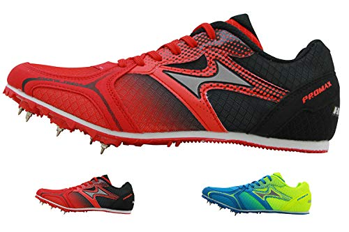 HEALTH Track Spike Running Sprint Shoes Track and Field Shoes Mesh Breathable Lightweight Professional Athletic Shoes 5599 Red for Kids, Boys, Girls,Womens, Mens