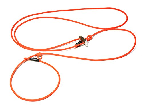 Mystique® Biothane Hunting Profi lautlos Umhängeleine 280cm Moxon mit Zugbegrenzung (8mm, neon orange)