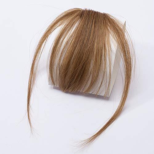 SEGO Clip in Pony Fringe Real Hair Echthaar One Piece Extension On Front Verlängerung 100% Human Haar Hellbraun #6 Dünn-3g