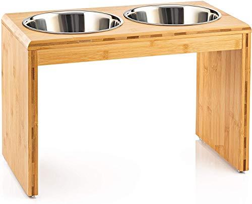 Migosset Supporto Rialzato per Ciotole - Rialzo per Ciotola, per Cani di Taglia Media o Grande - Portaciotole in Legno di bambù con 4 Ciotole in Acciaio Inox (Grandi)