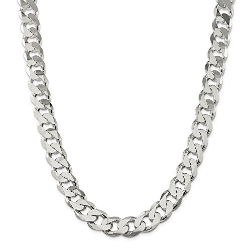 925 Sterling Silver 15mm Link Curb Chain Necklace 28 Inch Pendant Charm Man Flat Beveled Fine Jewellery For Dad Mens Gifts For Him