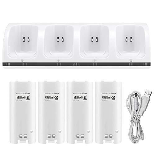 Caricabatterie per telecomando Wii, stazione di ricarica Surnous per Wii Remote Docking Station per Wii Charger per Wii per stazione di ricarica Wii (4 batterie e 4 porte di ricarica bianche).