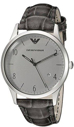 Nueva Emporio Armani Ar1880Hombre Gris Funda de piel Acero inoxidable reloj de pulsera