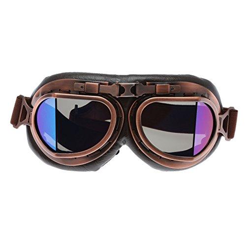 Helm Steampunk Vintage Sonnenbrille Schutzbrille für Outdoor Sport Motocross - Smoke Glas 1